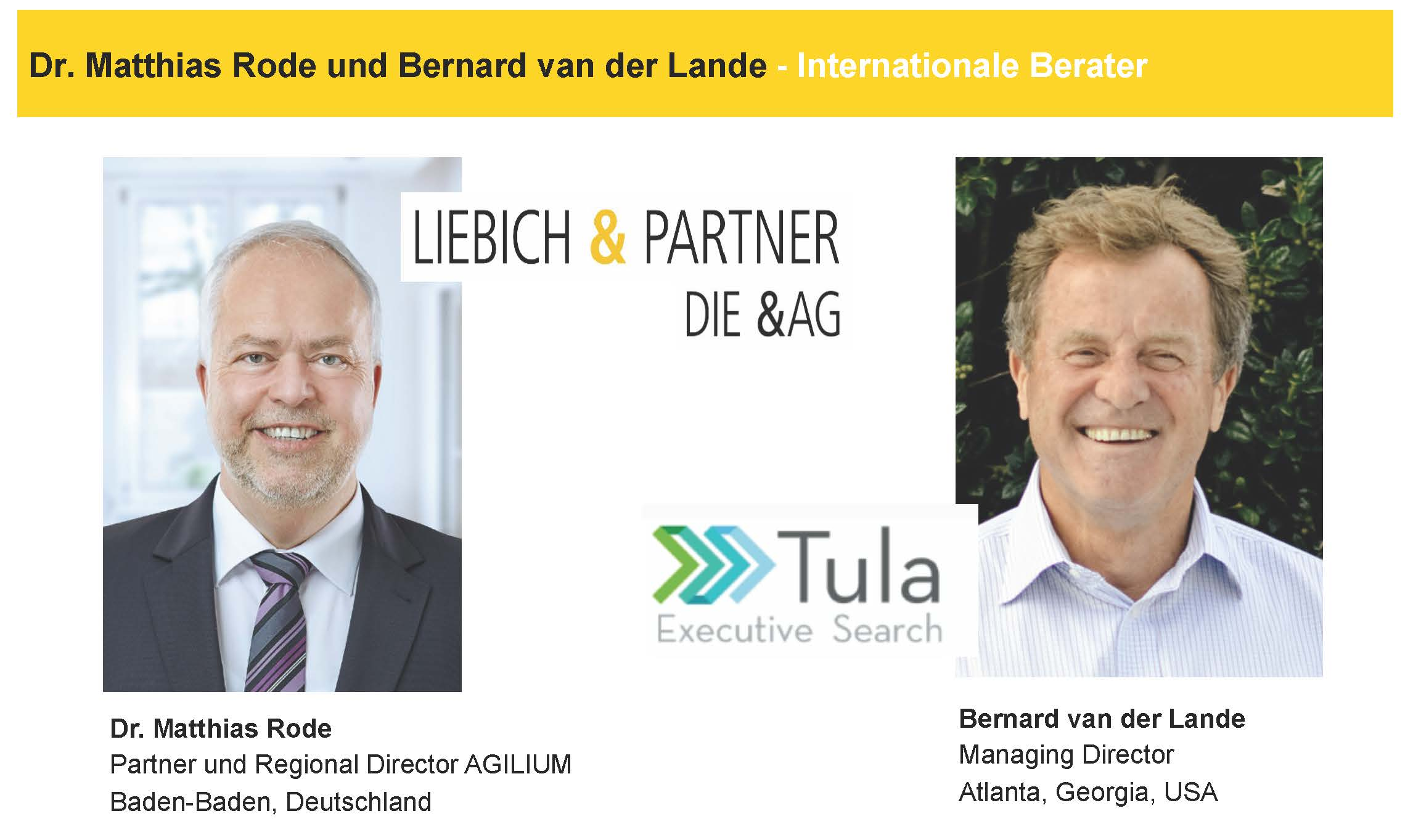 November 2020 – Liebich & Partner, Germany and Tula Executive Search, USA team up for a webinar to support German businesses hiring for positions in the USA